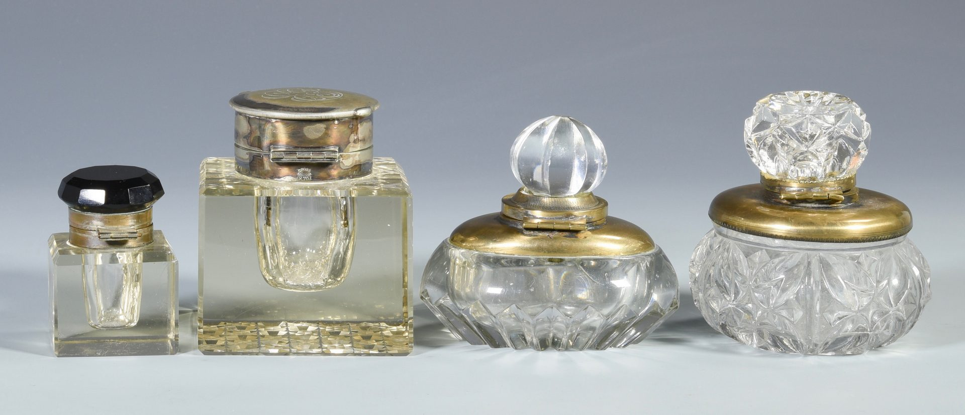 Lot 684: 4 European Glass Inkwells