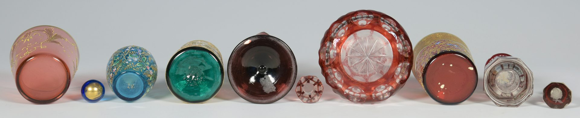 Lot 685: 7 Colored Glass Perfume Bottles and Cups