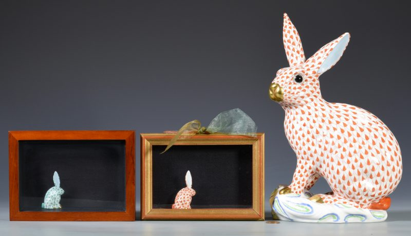 Lot 689: Large Herend Rabbit Figure w/ 2 Rabbit Miniatures