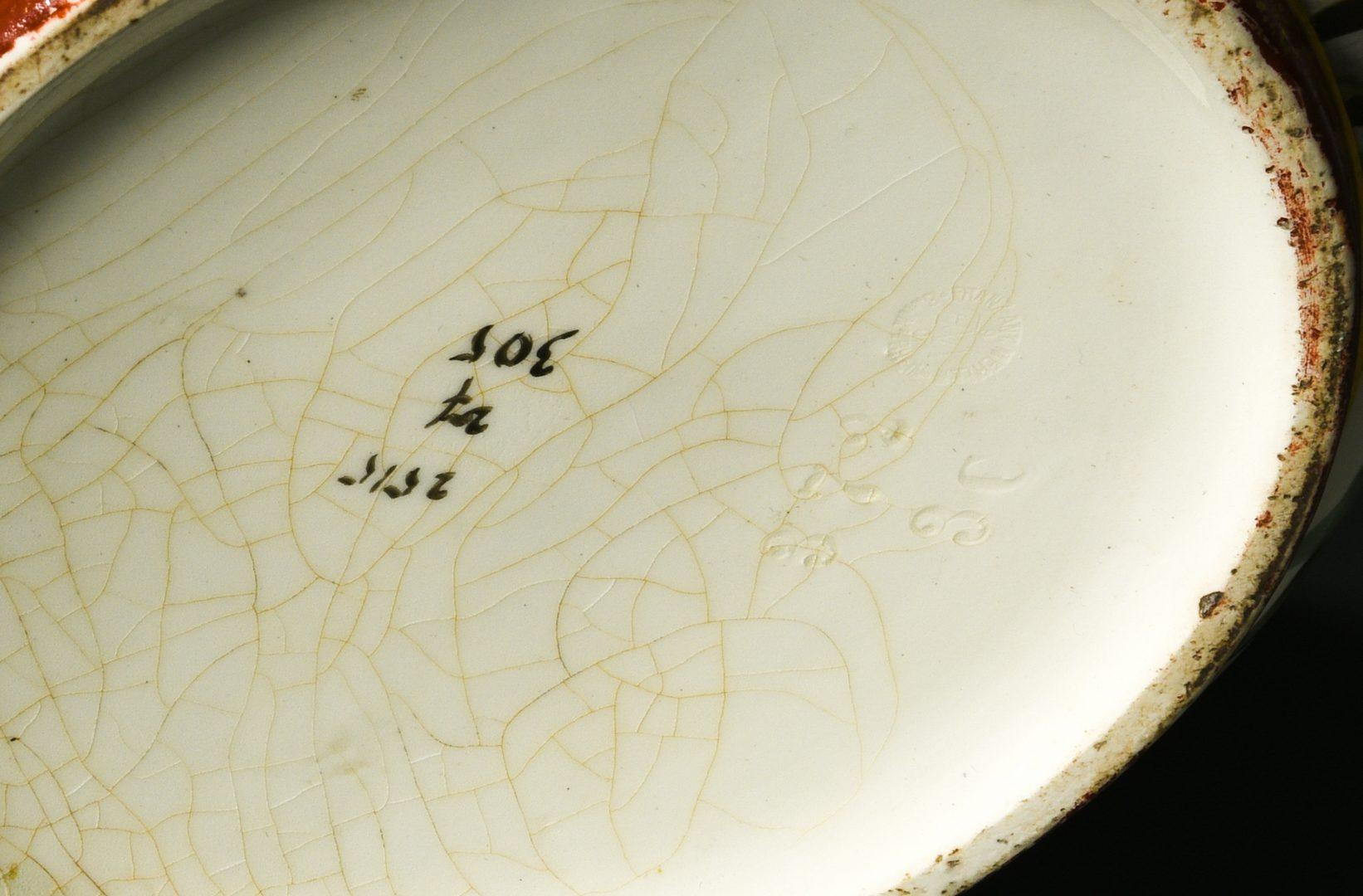 Lot 691: Pr. Hand Painted Aesthetic Jardinieres, Birds