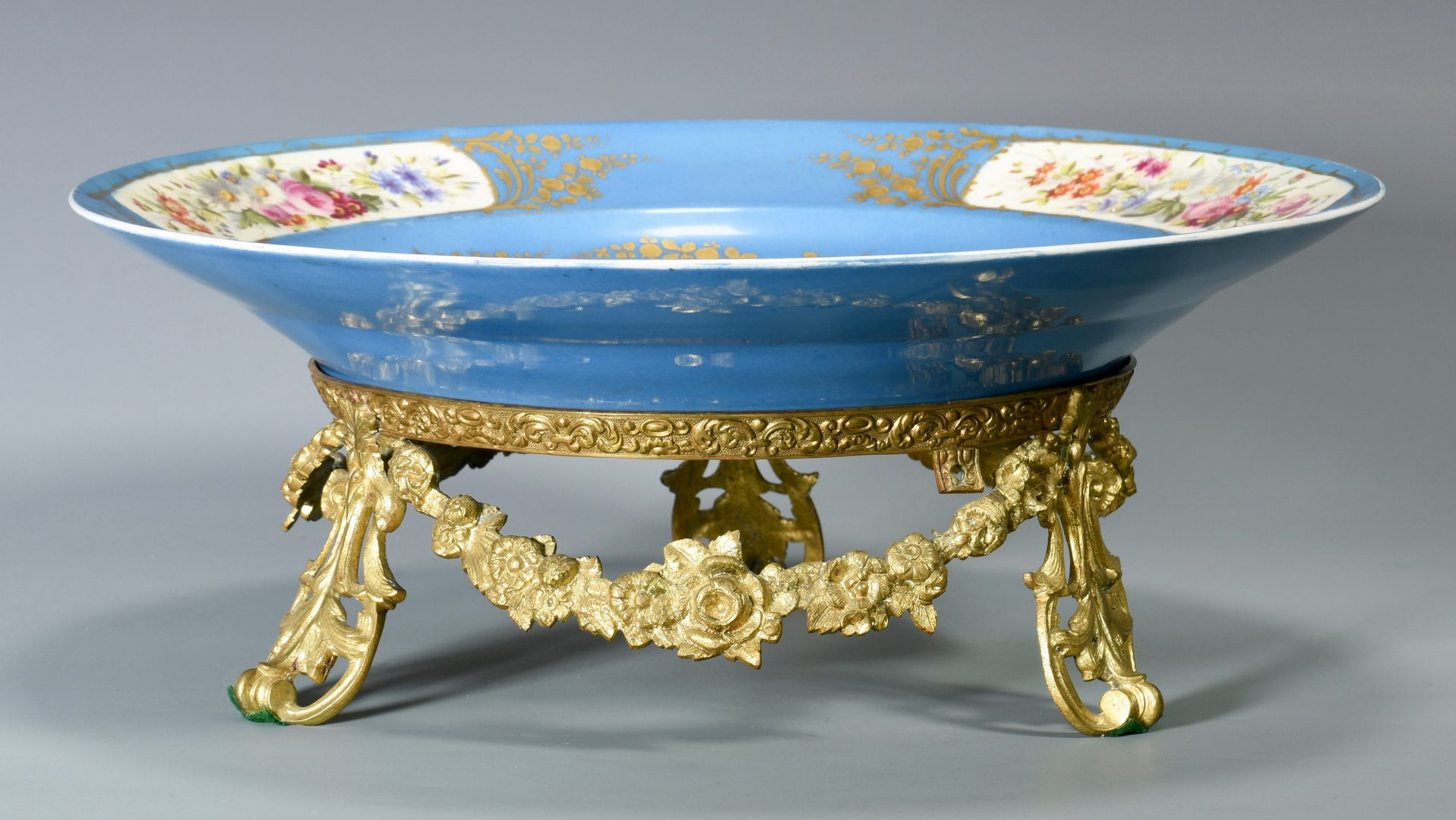Lot 692: Sevres Style Porcelain Charger w/ Gilt Bronze Stand