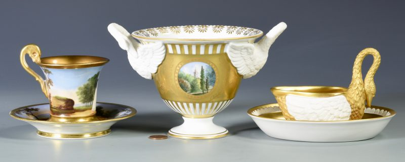 Lot 693:  3 European Porcelain Items inc. Dresden