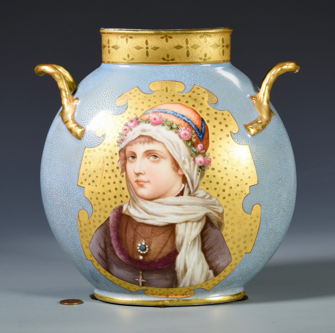 Lot 695: Continental Portrait Vase