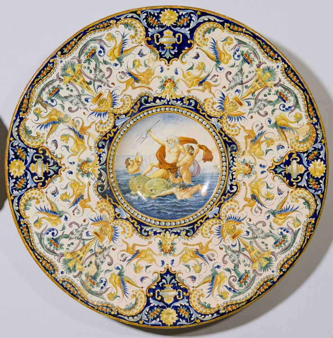 Lot 698: 2 Continental Majolica Chargers