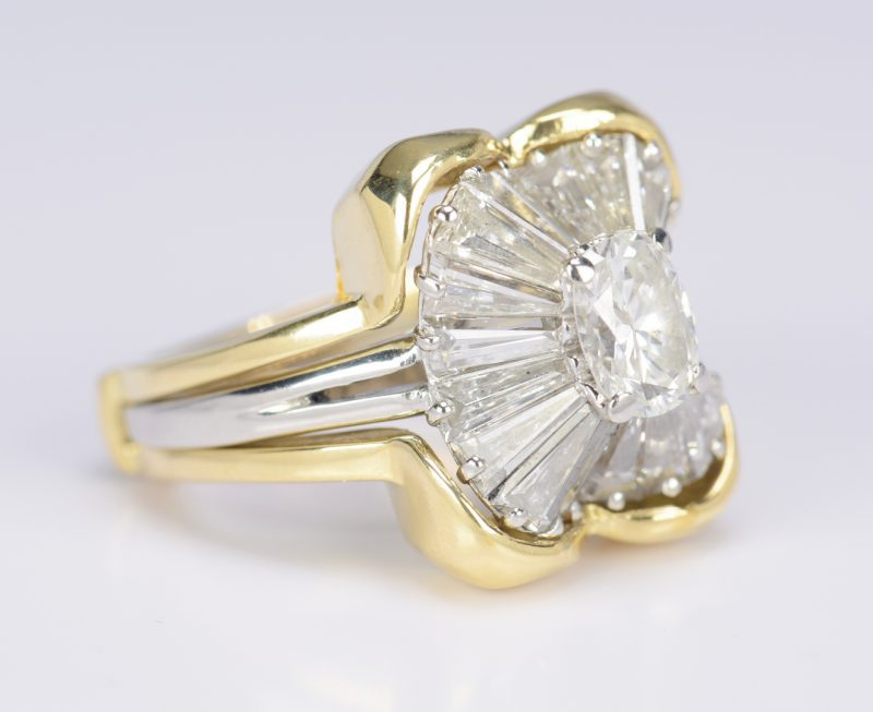 Lot 69: Ladies Diamond Platinum Ballerina Ring