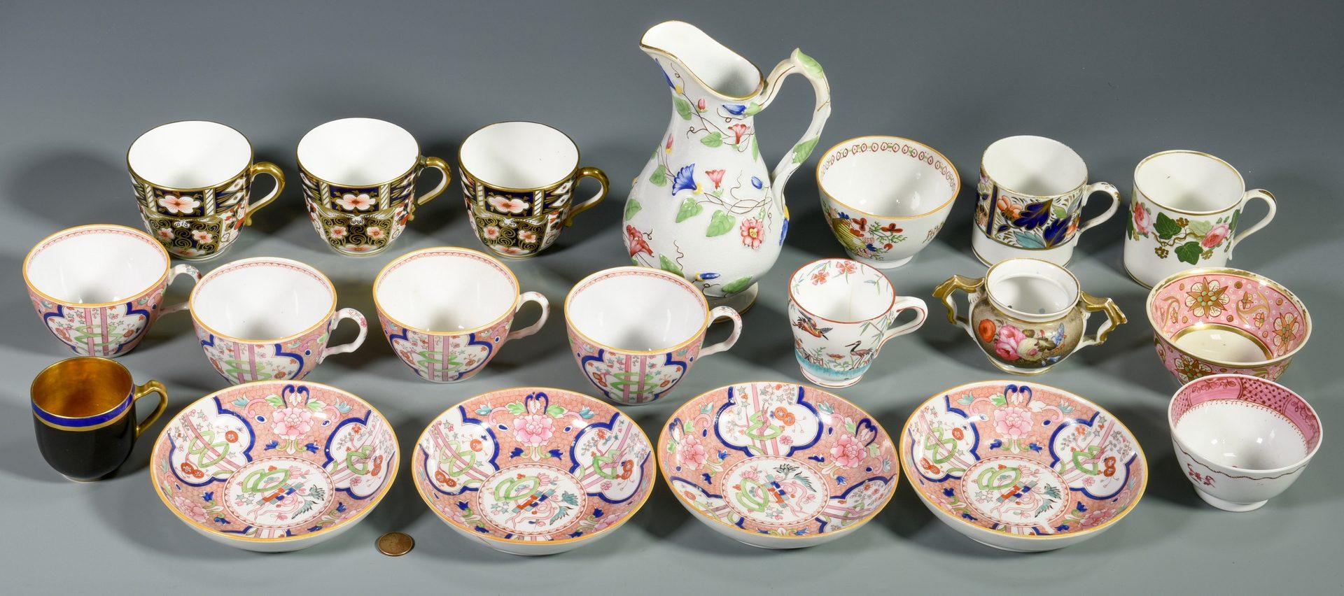 Lot 701: 16 Porcelain tea items, most English