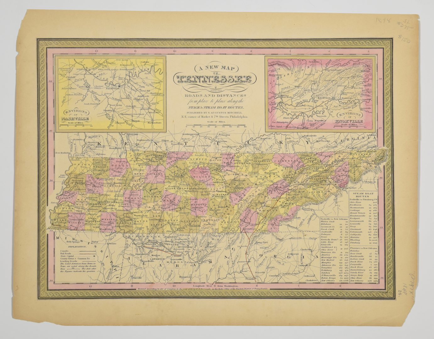 Lot 715: 3 Maps Total , 1 of Tennessee, 2 of Kentucky and Tennessee