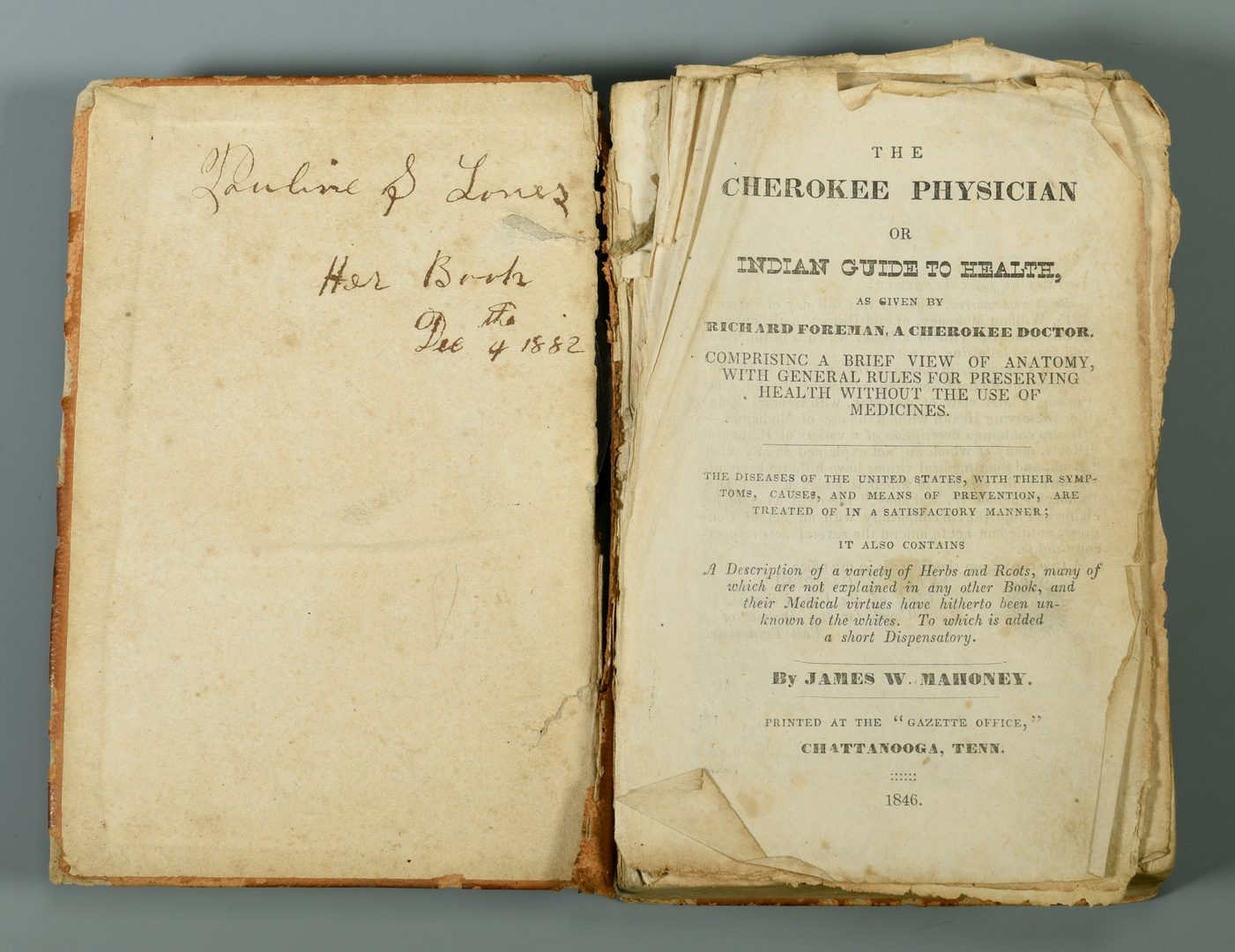 Lot 718: The Cherokee Physician or Indian Guide to Health
