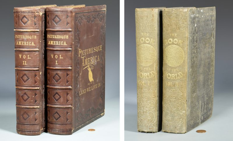 Lot 722: 1850 Book of the World w/ Maps & Slave Census plus Picturesque America Set