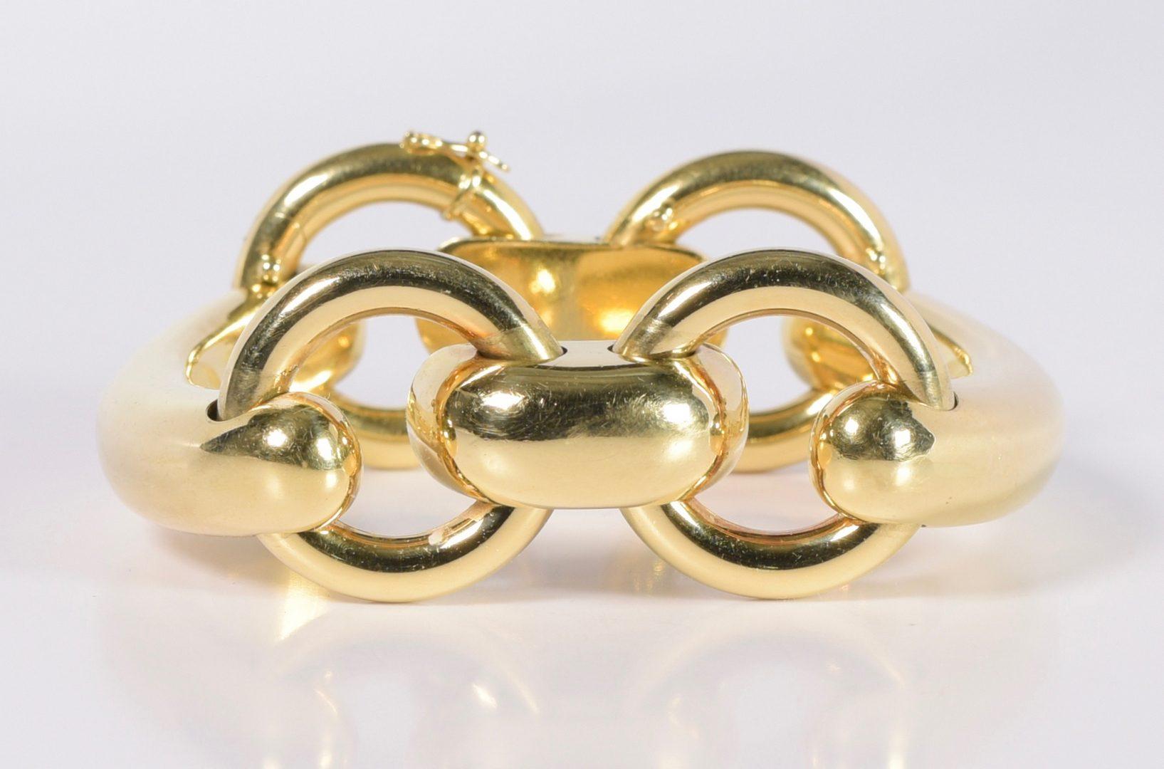 Lot 72: 18K Heavy Buckle Bracelet, 91.7 grams