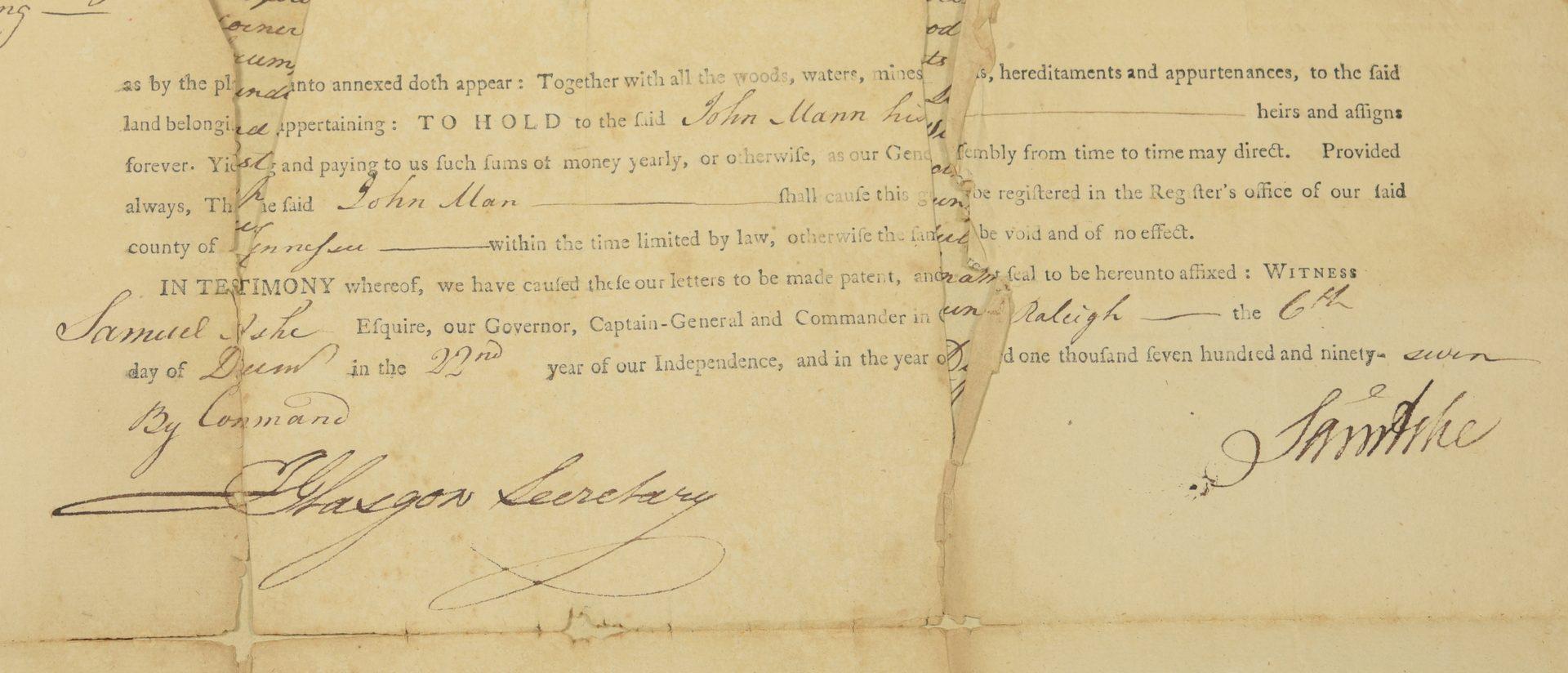 Lot 742: Five 18th Century NC/TN land grants