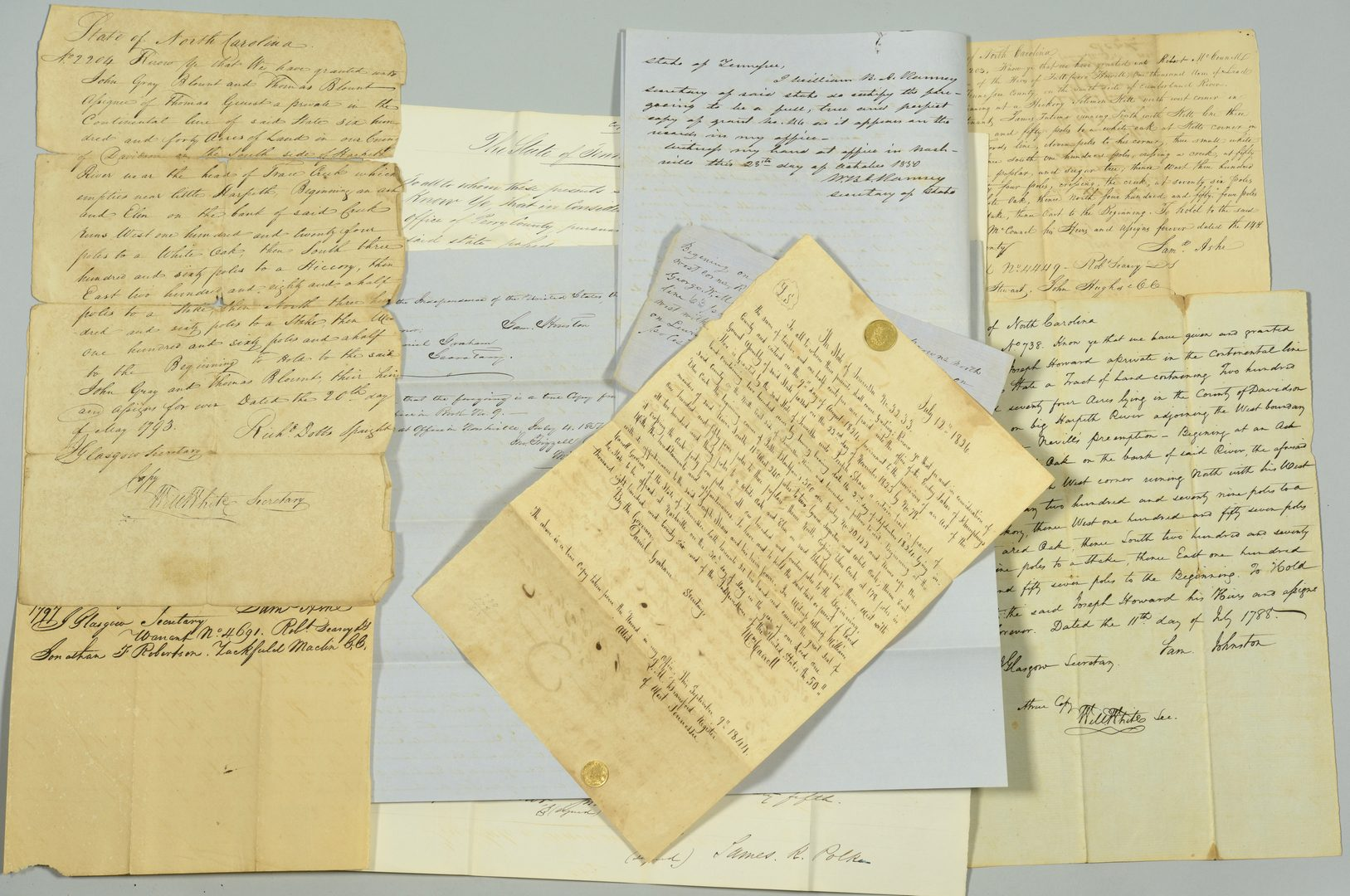 Lot 744: Copies of NC/TN Land Documents 1786-1840
