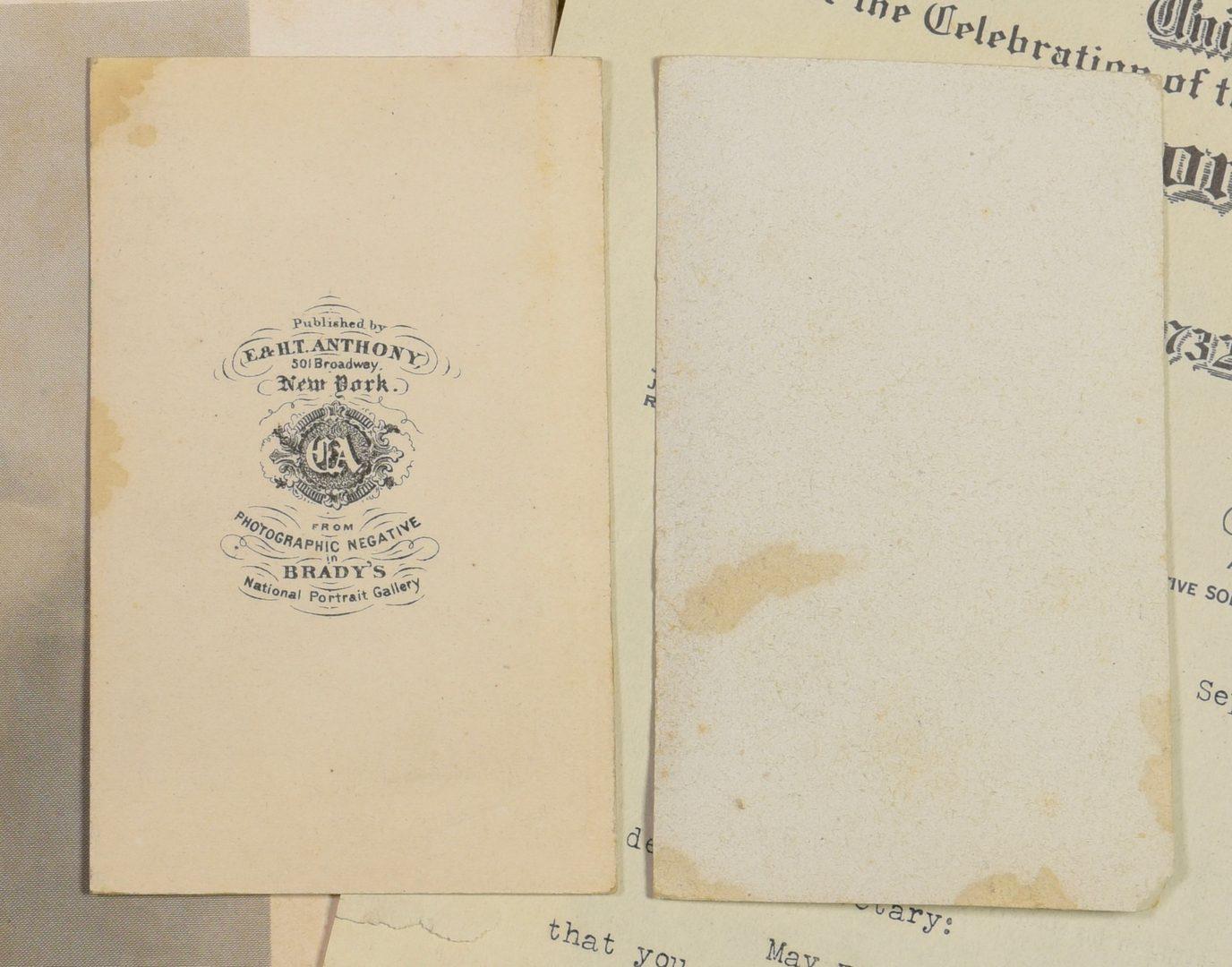 Lot 746: Lincoln and Washington CDVs, ephemera