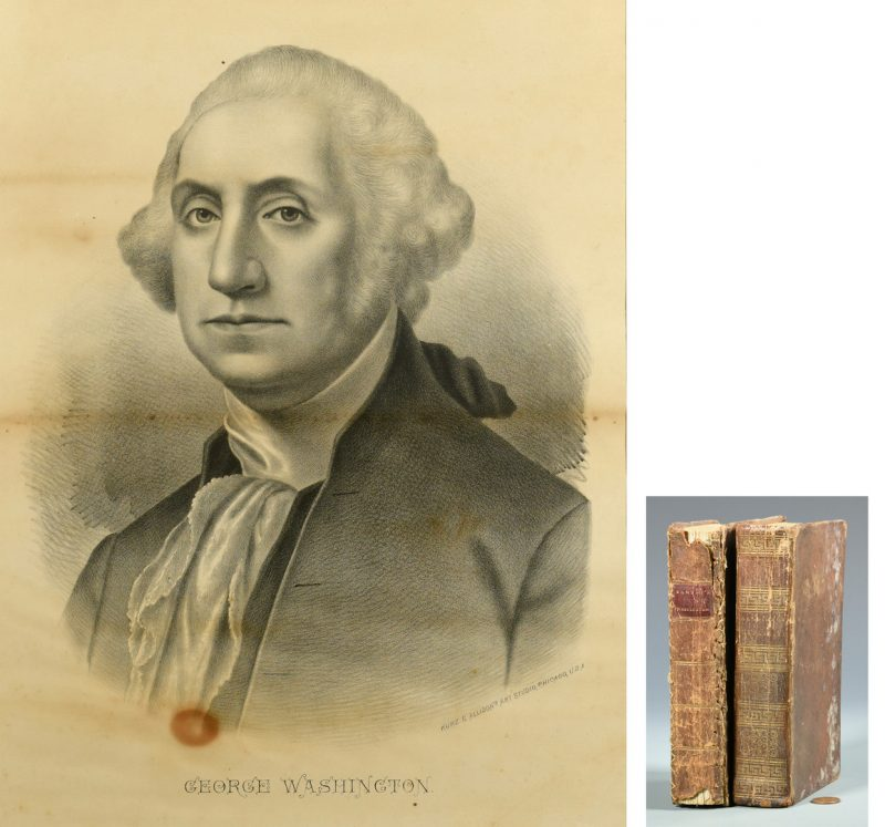 Lot 747: Washington Litho plus 2 Books- Washington and Lafayette