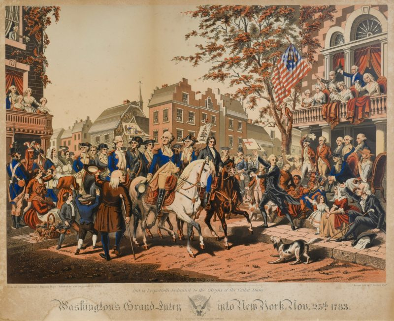 Lot 748: Chromolithograph Washington's Grand Entry into NY