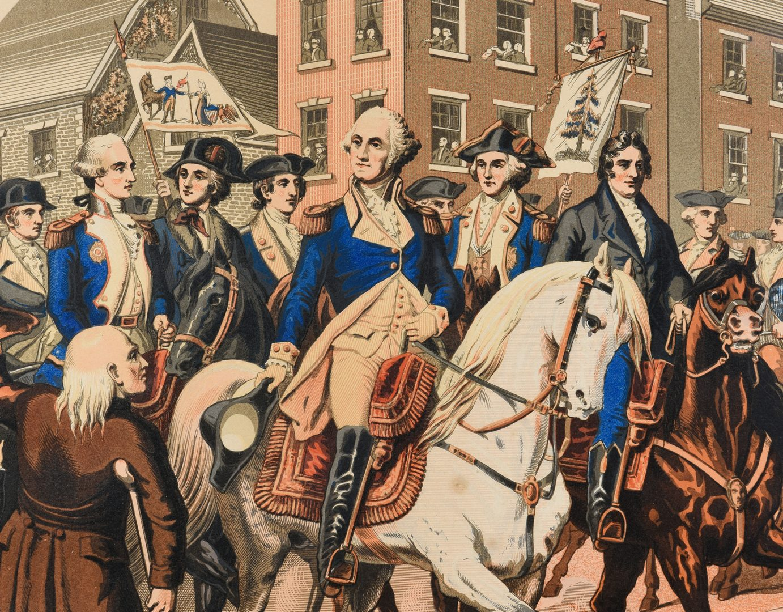 Lot 748: Chromolithograph Washington's Grand Entry into NY
