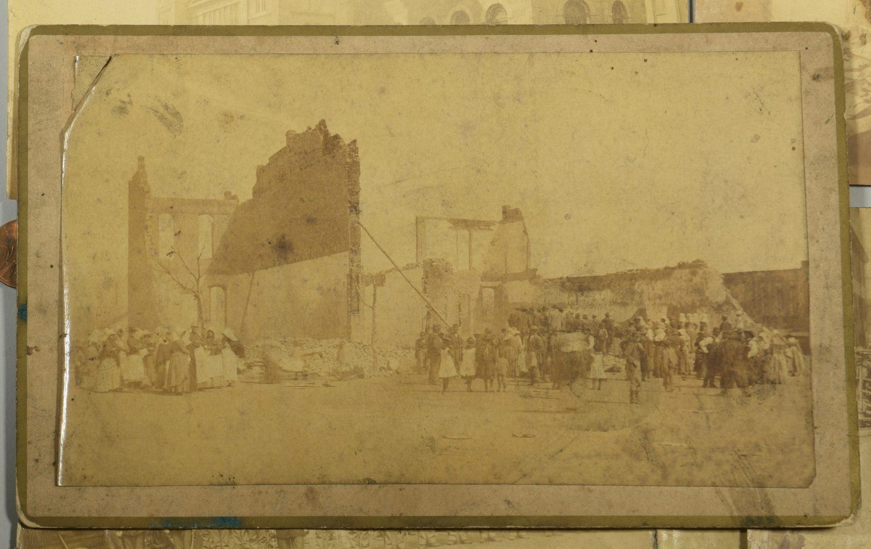 Lot 749: Cincinnati Riot of 1884 and Pulaski TN destruction, albumen prints