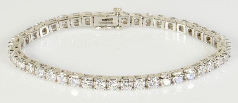 Lot 75: 14K Diamond Line Bracelet, 42 diamonds