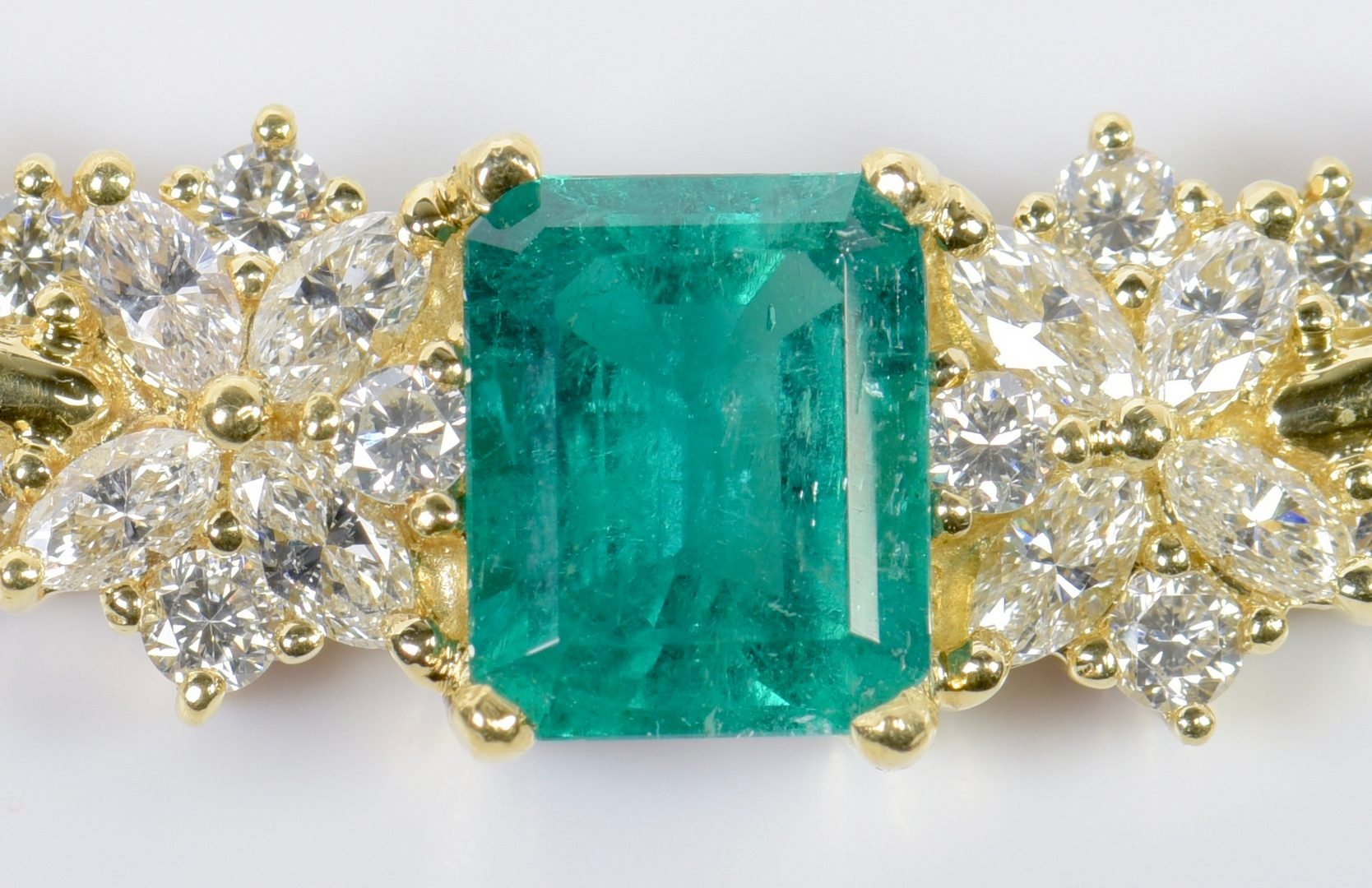 Lot 76: 18K Emerald and Diamond Necklace