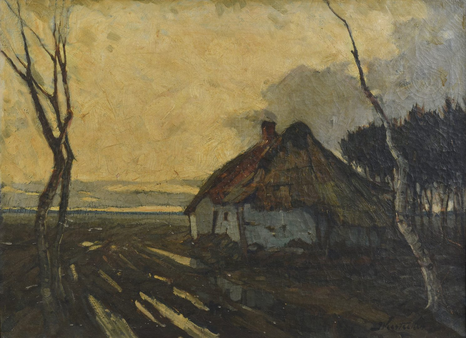 Lot 771: Jules Verstreken Oil on Canvas Landscape