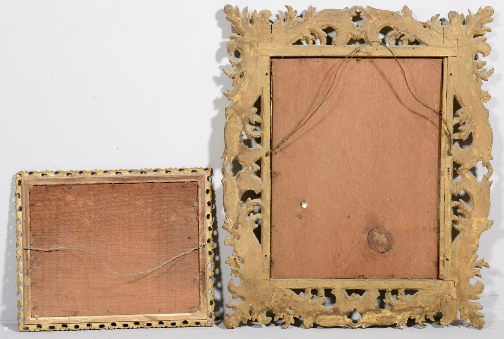 Lot 776: Two Gilt Carved Frames, 1 w/c seascape