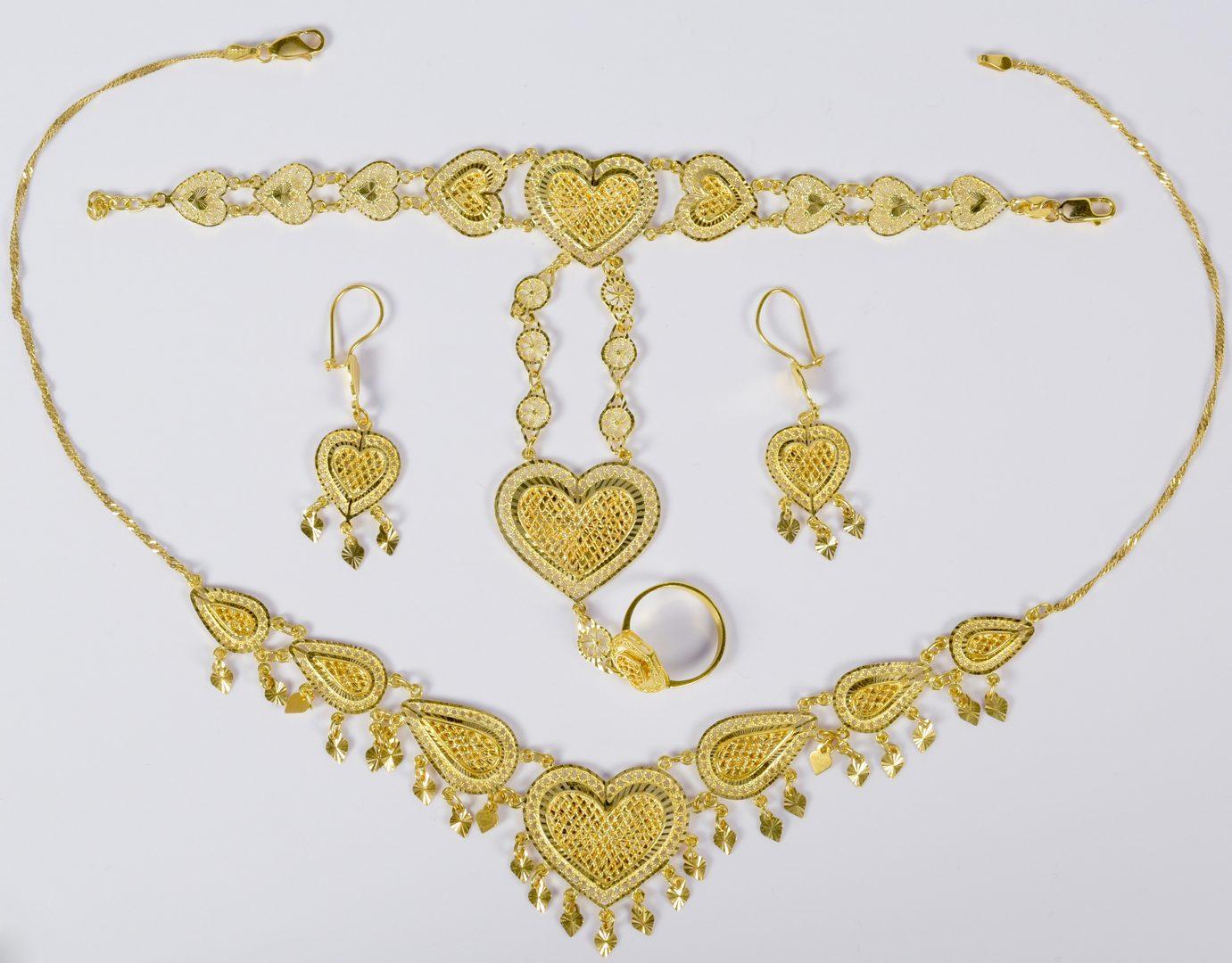 Lot 778 21K Gold Filigree Heart Jewelry 3pc Set