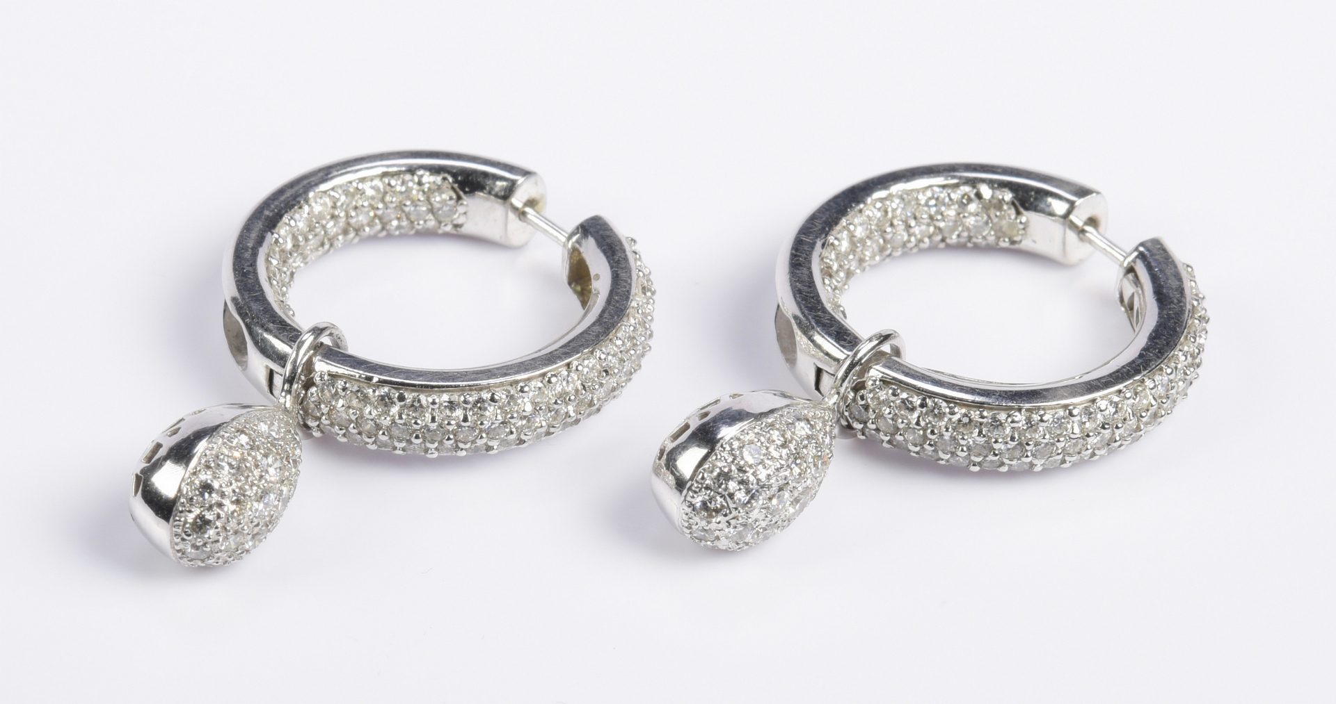 Lot 77: Diamond Hoop Earrings with Drops, 14K & 18K