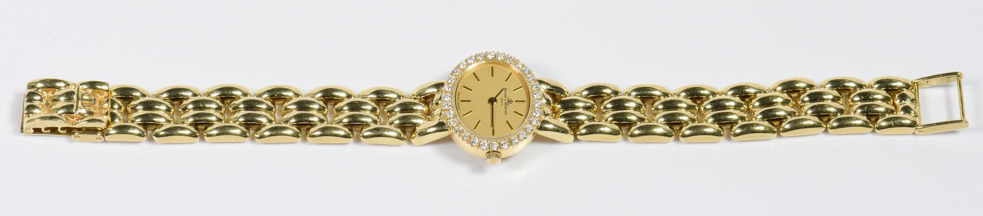 Lot 788: Lady's Baume Mercier 18K Dia Watch