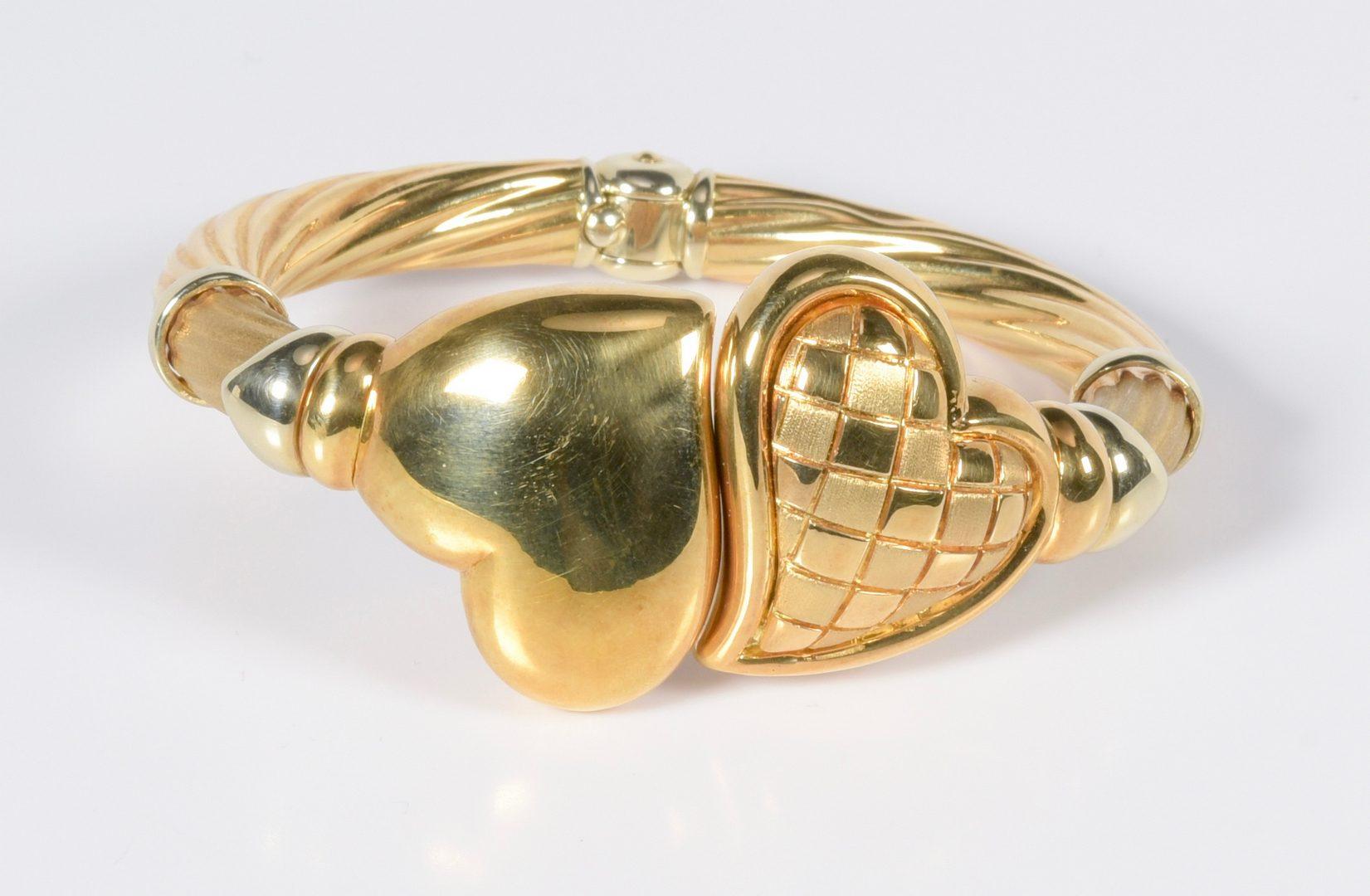 Lot 791: 18K Italian Heart Bangle Bracelet, 37.7 grams