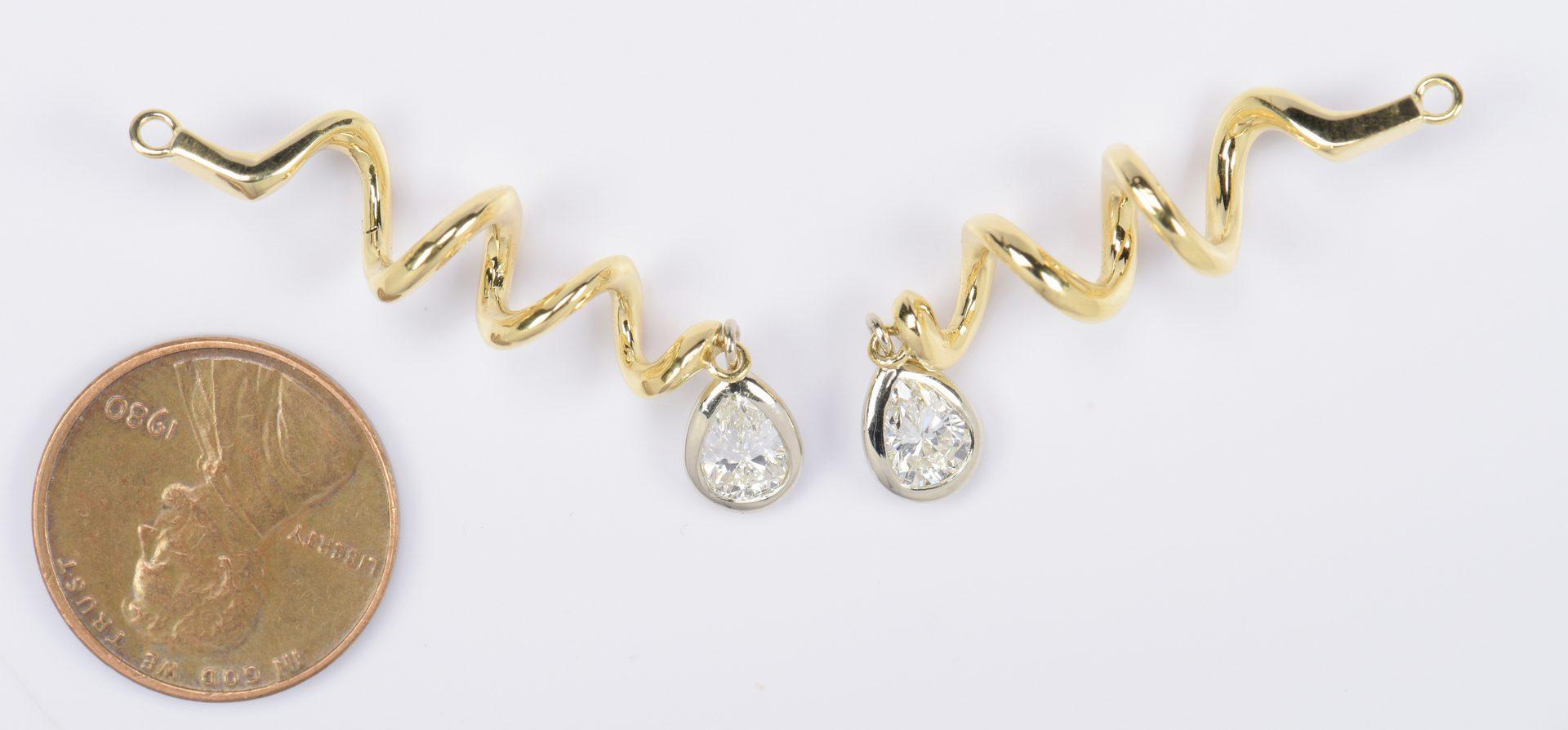 Lot 794: Pear-shaped Diamond Earring Jackets