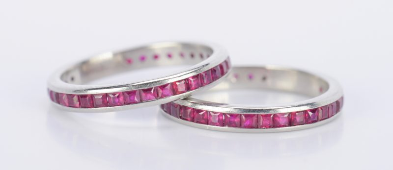 Lot 796: Pair Platinum Ruby Eternity Rings