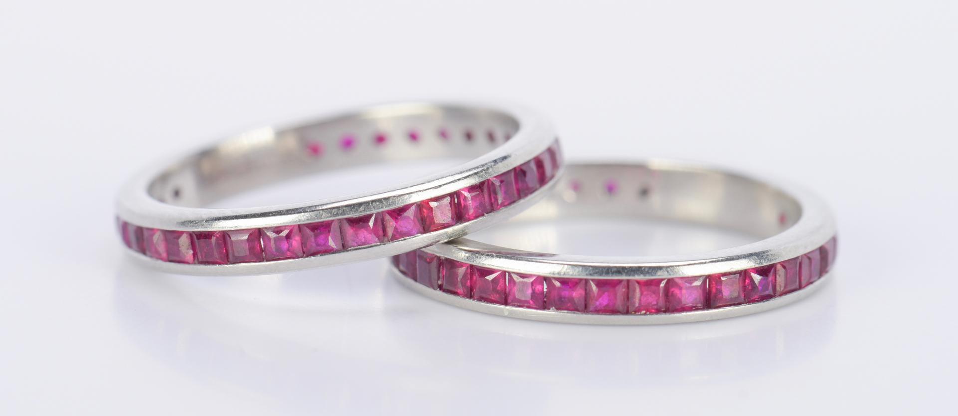 lot 796 pair platinum ruby eternity rings