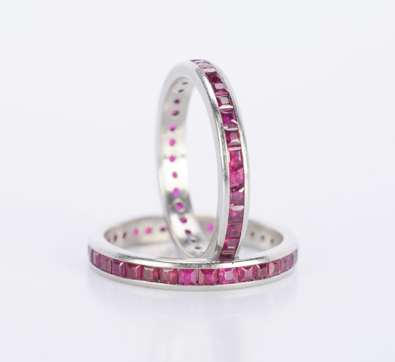 Lot 796: Pair Platinum Ruby Eternity Rings