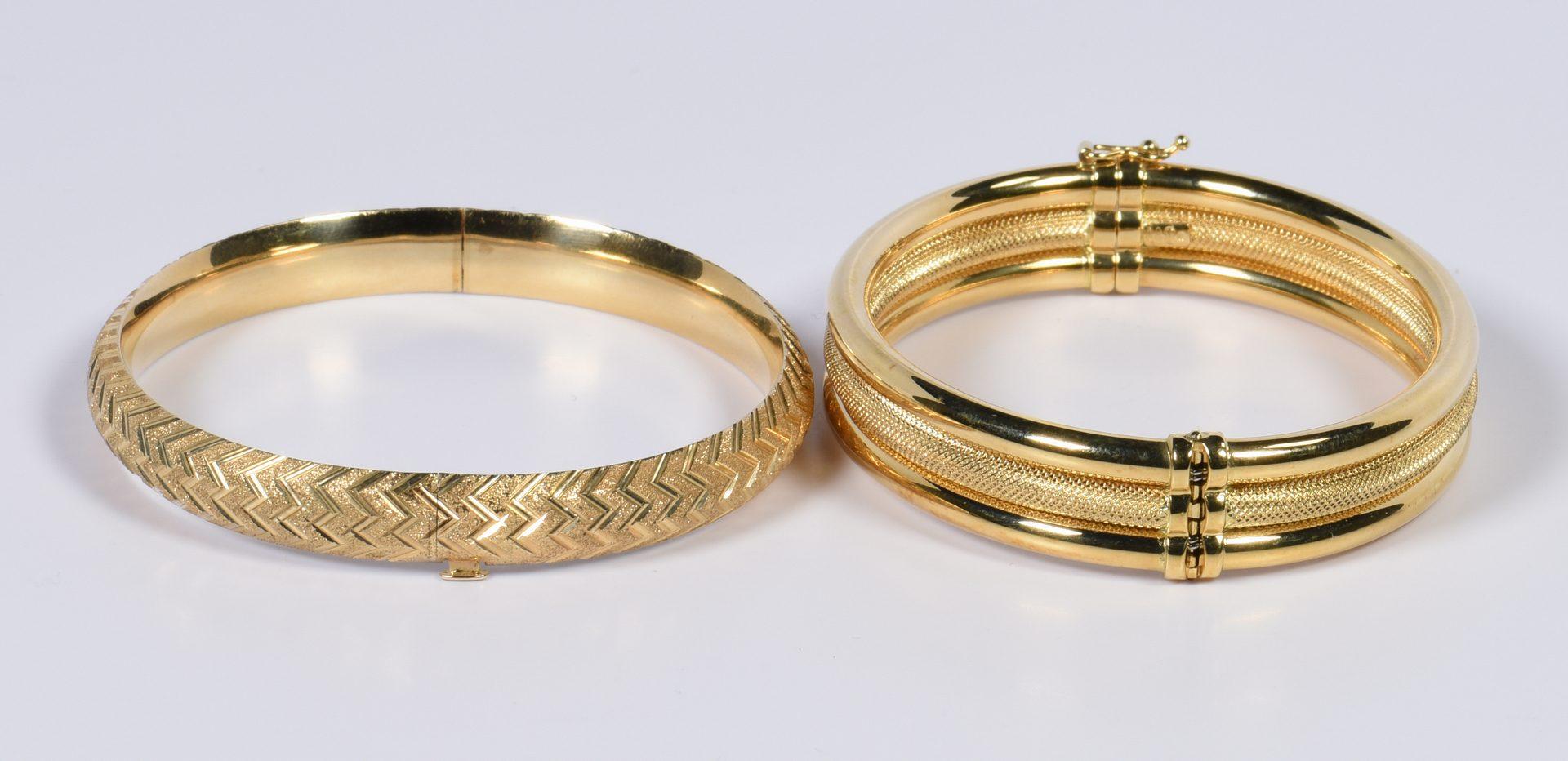 Lot 798: Two Gold Bangle Bracelets, 18K & 14K