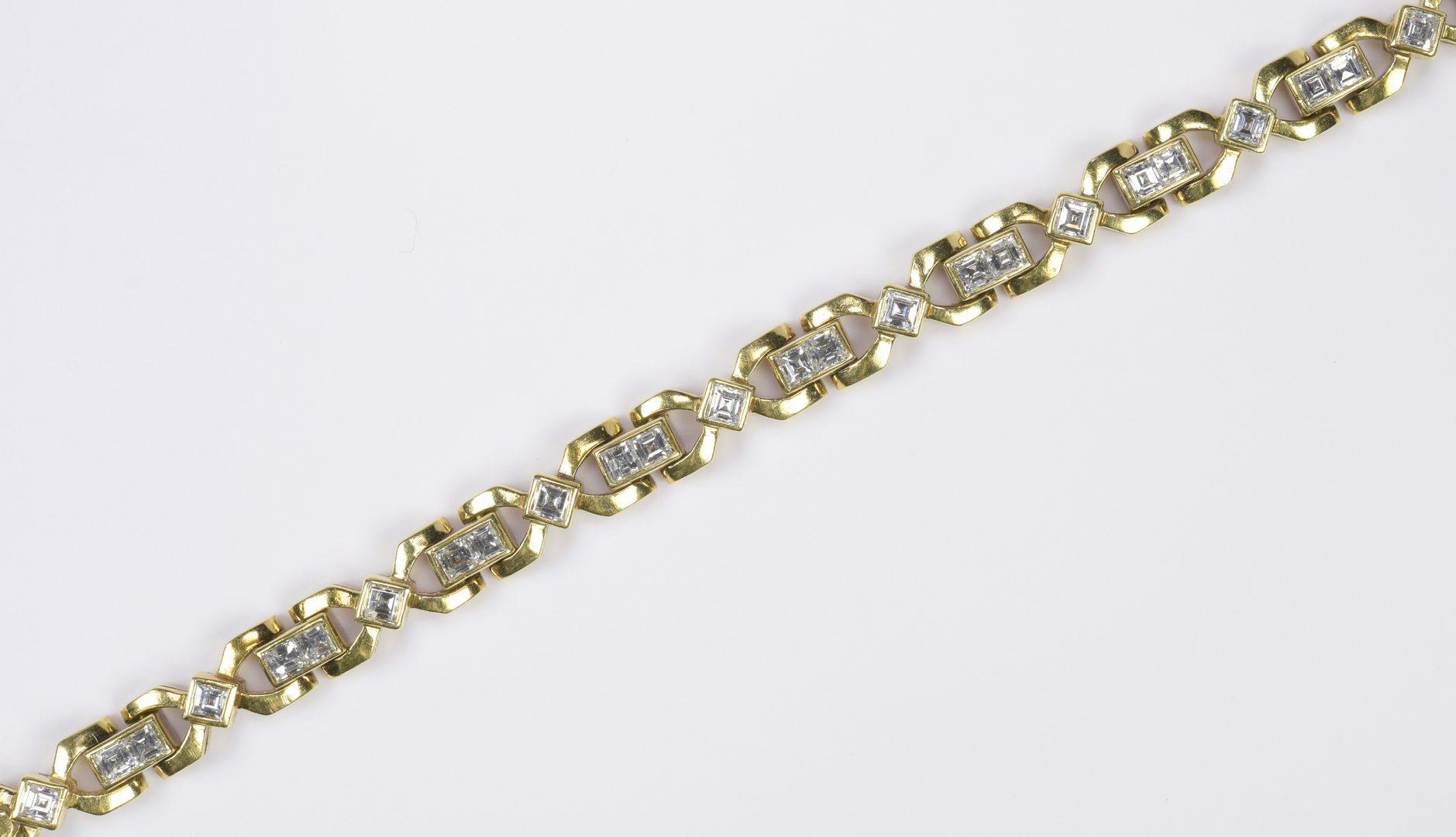 Lot 79: 14K Princess Cut Diamond Link Bracelet