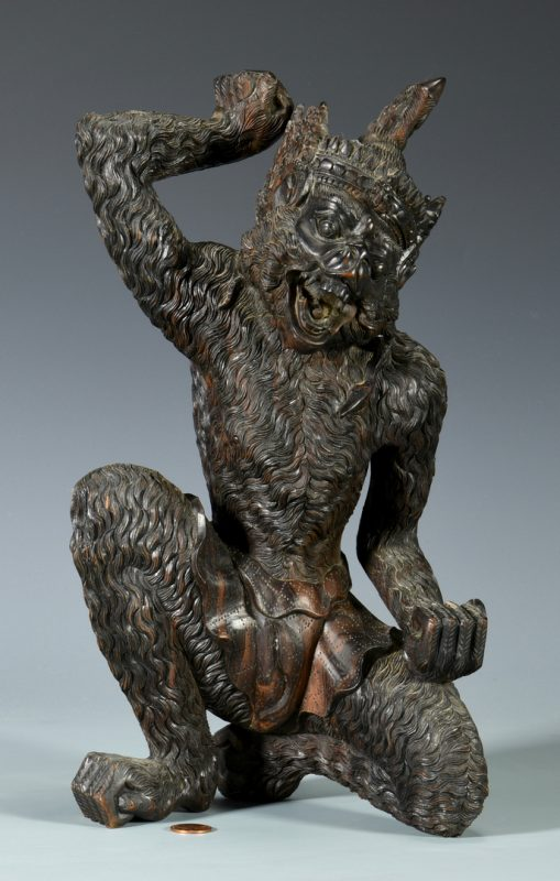Lot 7: Chinese Carved Hardwood Sun Wukong Figure