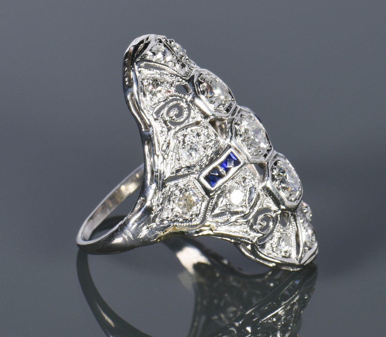 Lot 805: Art Deco Diamond and Sapphire Ring