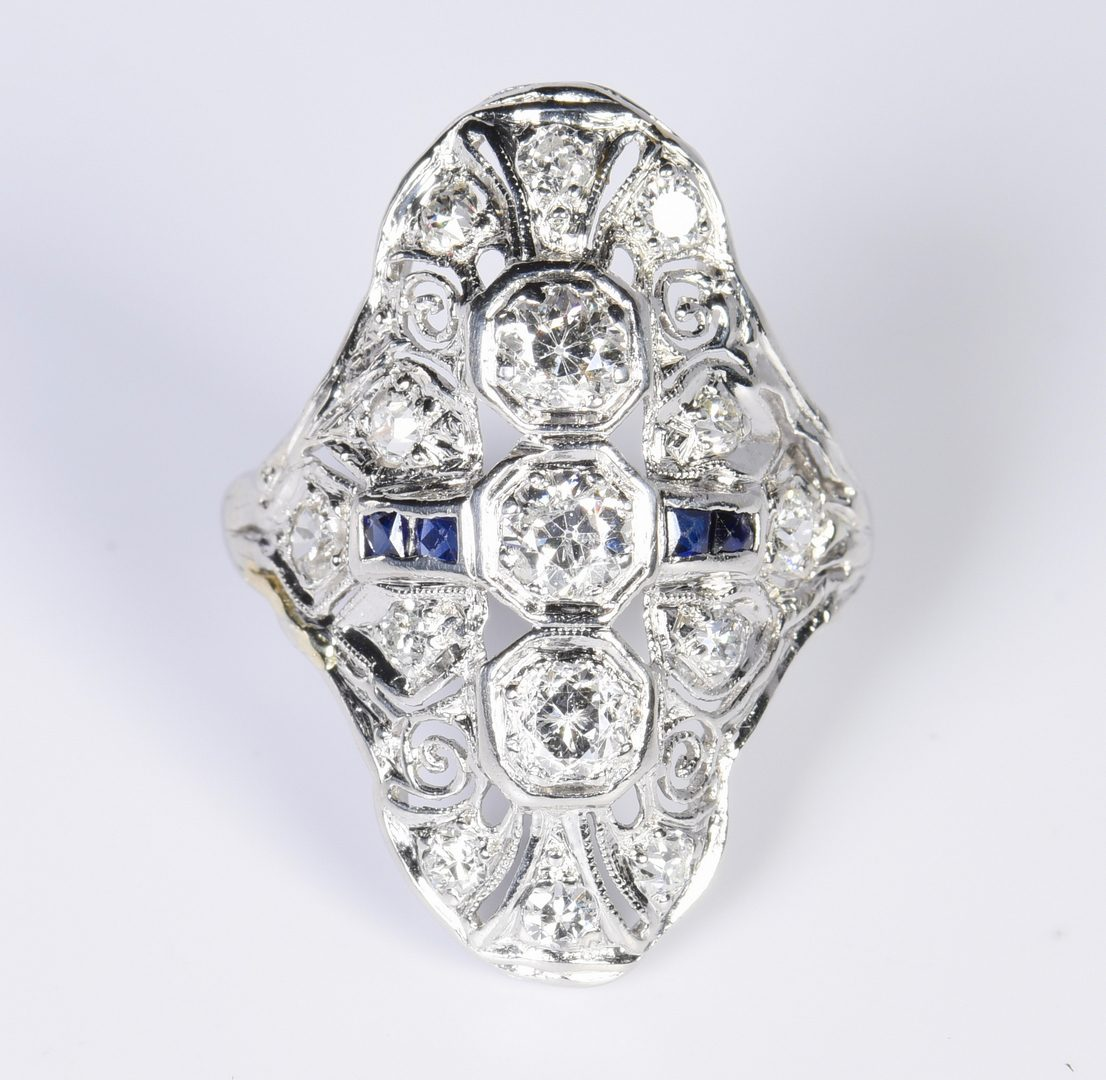 Lot 805: Art Deco Diamond and Sapphire Ring