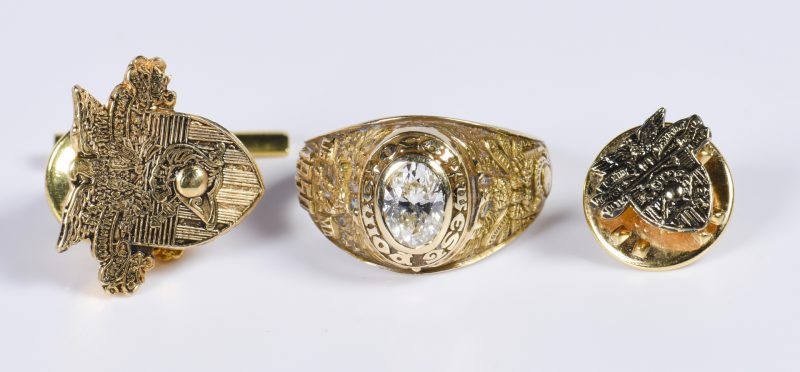 Lot 808: 14K West Point Gent's Jewelry Items