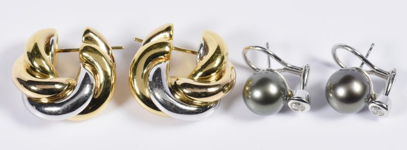 Lot 811: Two Pair 18K Earrings, incl Tahitian pearls