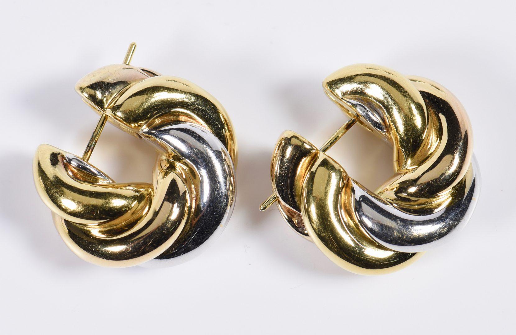 Lot 811: Two Pair 18K Earrings, incl Tahitian pearls