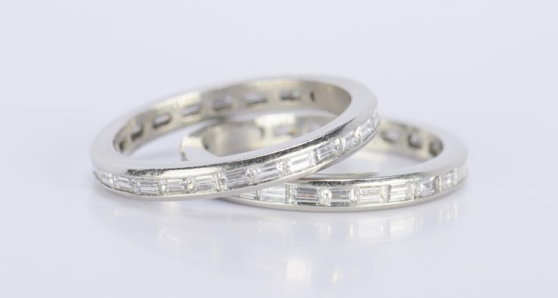 Lot 813: Pair Diamond Platinum Eternity Rings