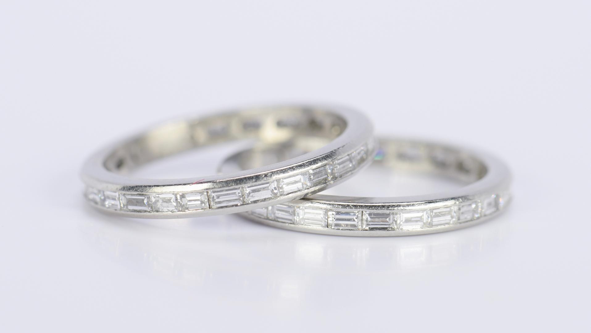 lot 813 pair platinum eternity rings