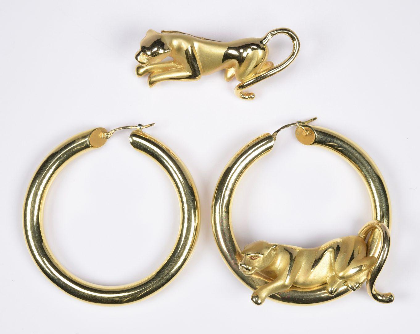Lot 814: Charles Garnier 18K Panther Jewelry