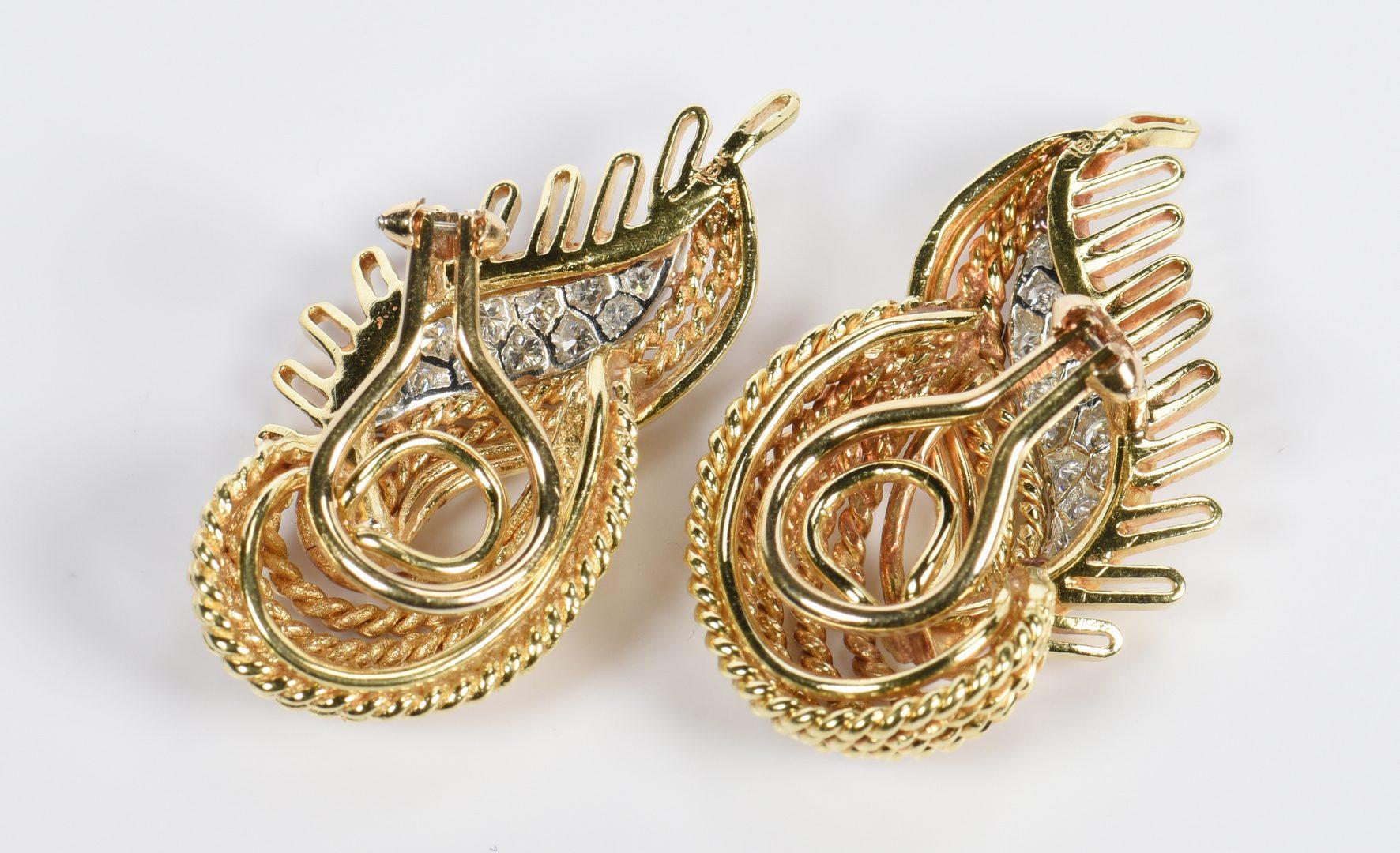 Lot 815: Pair 18K Diamond Twist Earrings