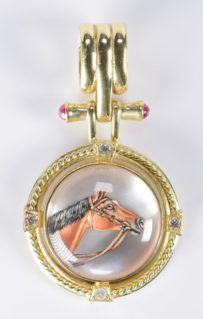 Lot 817: Gold Equestrian Jewelry incl Essex Crystal