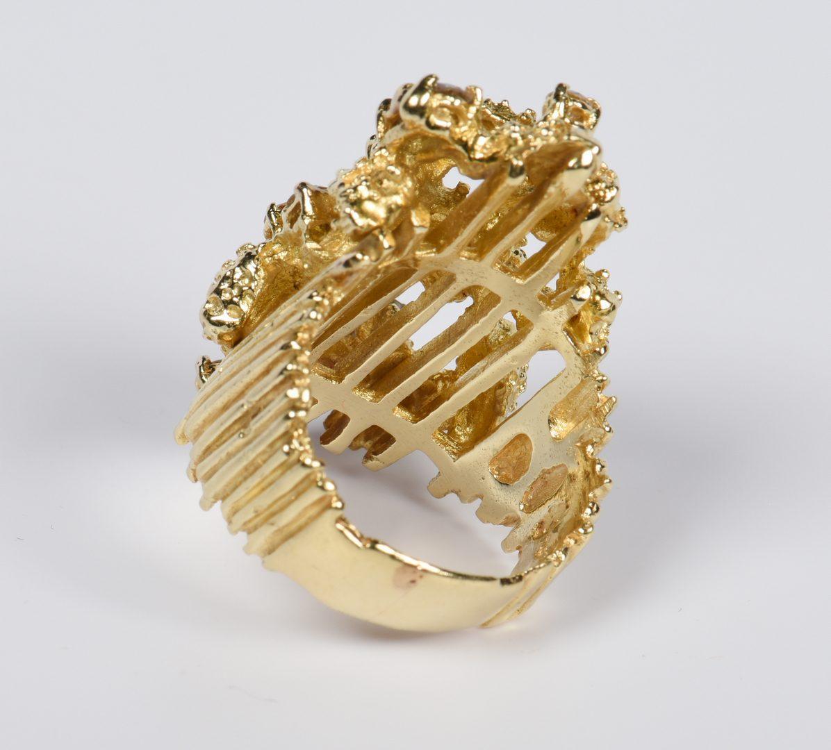 Lot 819: 14K Diamond Organic Contemporary Ring