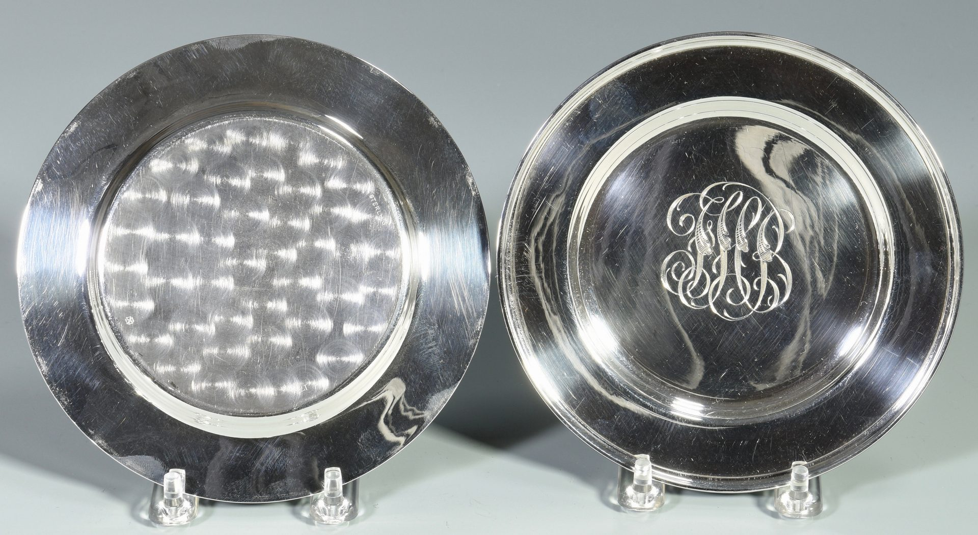 Lot 826: 12 Sterling Bread Plates & 12 Bowls, Monogrammed