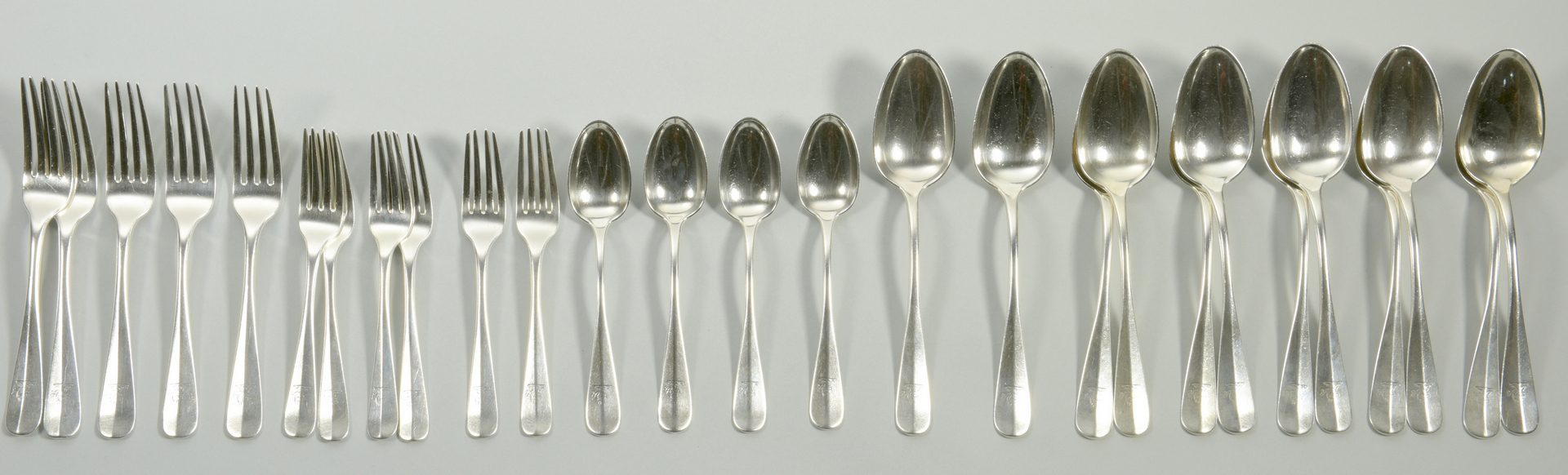 Lot 828: S. Kirk & Son Coin Silver Flatware, 27 pcs