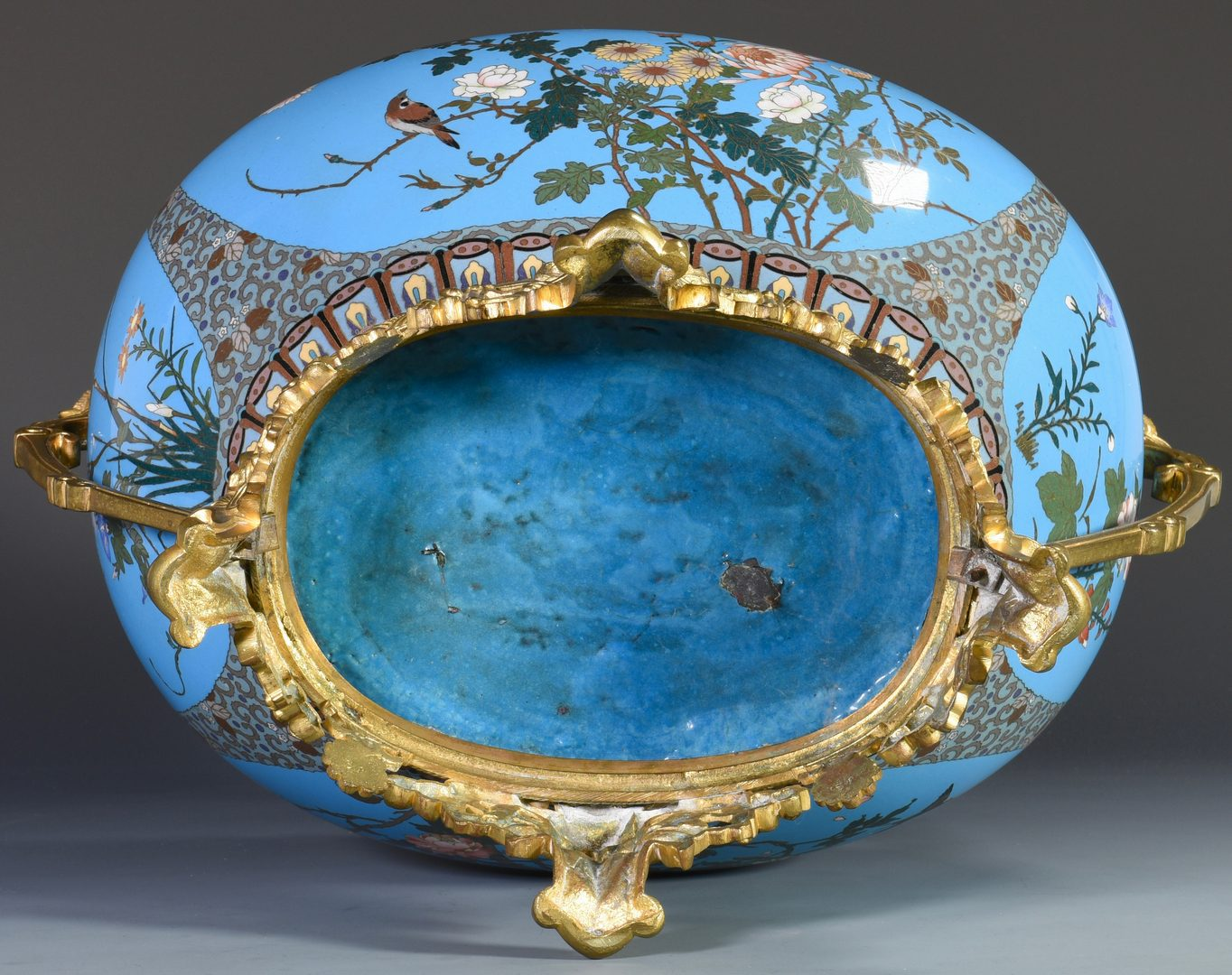 Lot 82: French Chinoiserie Enamel Jardiniere w/ Bronze Mounts
